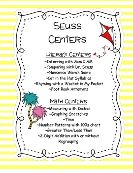 These Dr. Seuss Themed center cover an array of abilities, with differentiation throughout the centers.Literacy Centers~Nonsense Words going ...