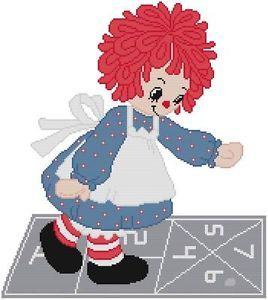 Cross Stitch Knit Crochet Plastic Canvas Waste Canvas Rug Hooking and Bead Work Pattern Raggedy Ann Rag Doll loves to play Hopscotch!    https://www.pinterest.com/resparkled/