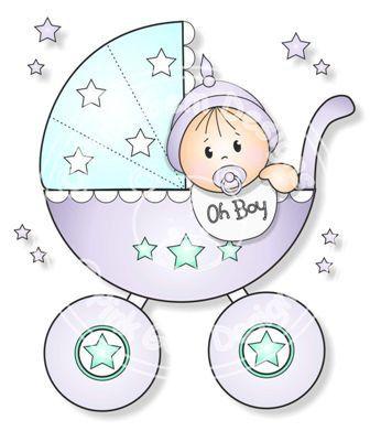 Digital Digi Baby Boy in Pram Stamp por PinkGemDesigns en Etsy