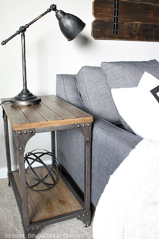 Industrial Side Table for Modern Farmhouse Industrial Decor