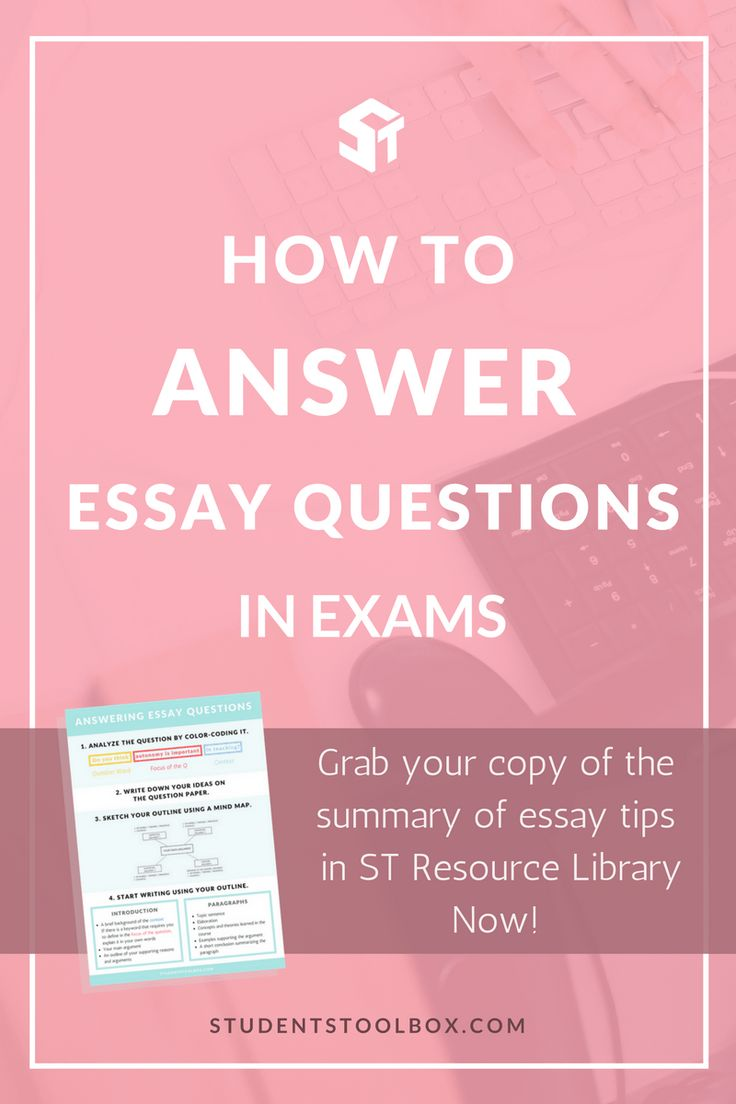 structure for answering essay questions Exam essay questions require an answer that can vary from several paragraphs to several pages how much you can write will depend on the marks available for the.