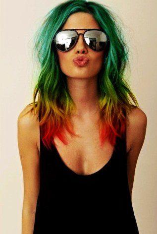 Trendy Hairstyles - Rainbow Ombre Dip Dye Hair Chalk