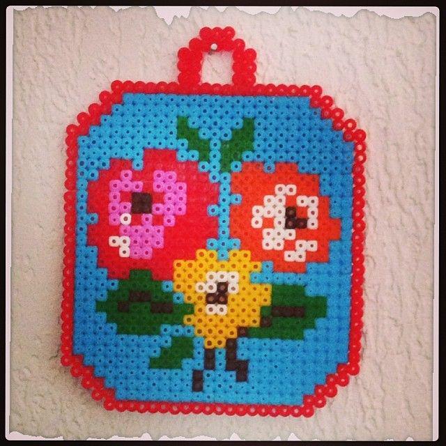 Flower decor hama perler beads by revedeboheme