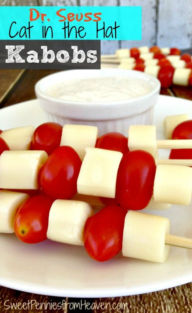 Cat in the Hat Kabobs with Tomatoes and Cheese Super! These are so easy and the perfect healthy kids snacks! If you're celebrating Dr. Seuss Week, then you MUST have these Cat in the Hat Kabobs!