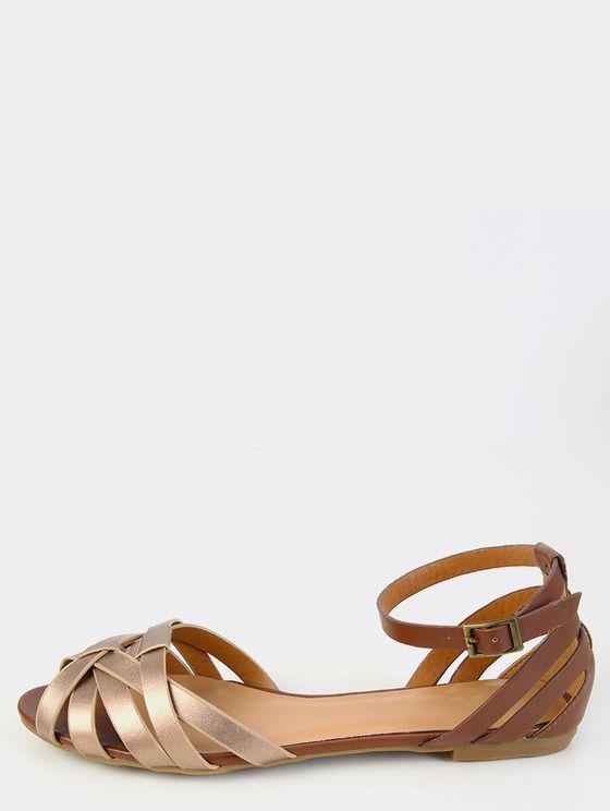 Duo Toned Metallic Sandals ROSEGOLD- MakeMeChic.COM.