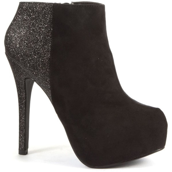 Black Glitter Panel Shoe Boots ($24) ❤ liked on Polyvore