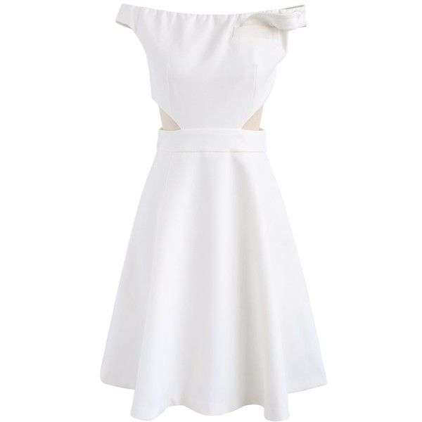 Chicwish Keep on Dancing Off-Shoulder Dress in White (3,870 INR) ❤ liked on Polyvore featuring dresses, white, going out dresses, holiday party dresses, night out dresses, white party dresses and white night out dresses
