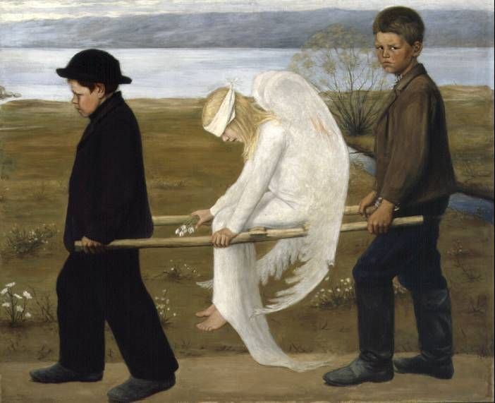 "The Wounded Angel (Finnish: Haavoittunut enkeli) (1903) is a painting by Finnish symbolist painter Hugo Simberg (concept was used in one of my favorite music videos -  ""Amaranth"" by Finnish band Nightwish)"