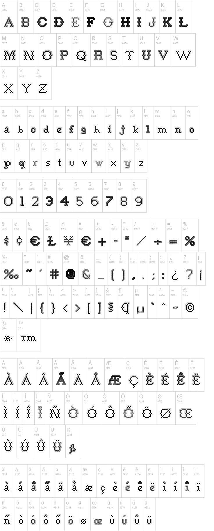 Cross stitch letters - Goodbye Crewel World NF Font