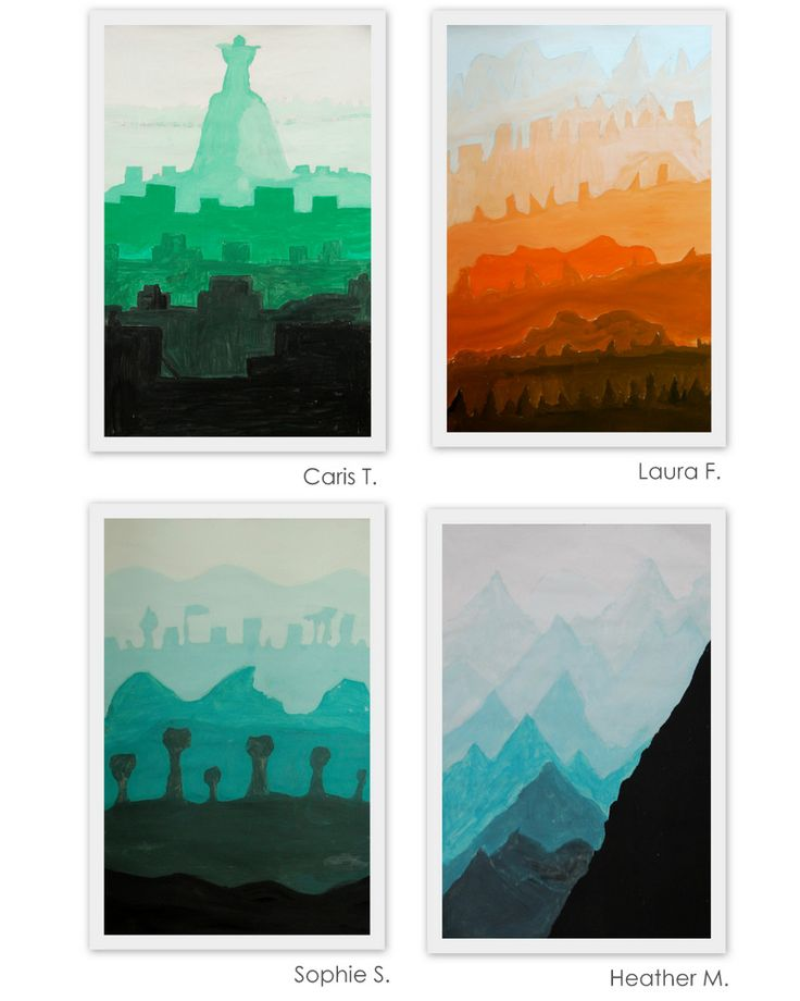 "(The New Hope Art Gallery: Middle School Art: Tint and Shade Landscapes.) Repinned by Elizabeth VanBuskirk, teacher and author of ""Beyond the Stones of Machu Picchu: Folk Tales and Stories of Inca Life"" (Thrums Books, 12/l/13). Try this with Andean mountain landscapes? Many possibilities. See Incas.org"