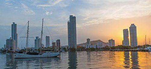 Cartagena Bay, sunset, yacht anchor site, Caribbean yacht plans ( http://yook3.com )