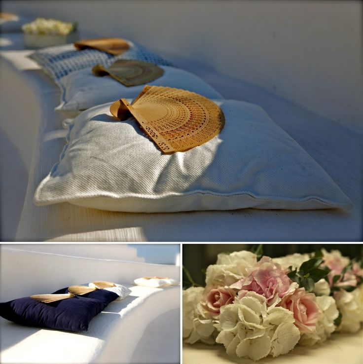 Wooden blowers, pillows and beautiful flowers!
