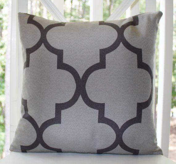 Morrocan Quatrefoil Lattice Designer Decorative Pillow - 18 inch - Llight Gray - Silver - Charcoal - Designer PIllow - Trellis Pillow. $38.00, via Etsy.
