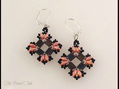 Tile Earrings video tutorial- use a combo of Tila and SuperDuo beads to create these unique earrings.  ~ Seed Bead Tutorials