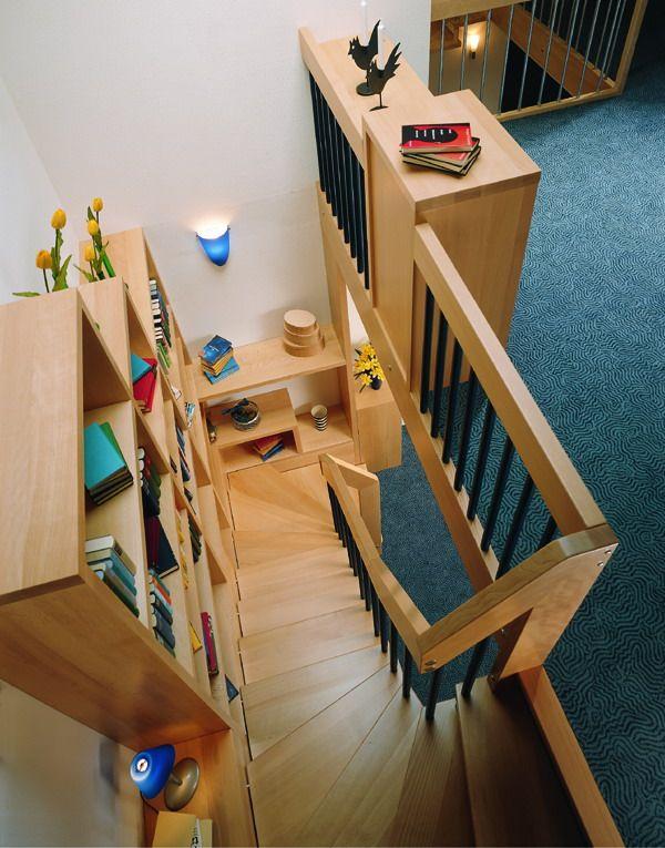 Les 25 meilleures id es de la cat gorie escalier 2 4 tournant sur pinterest - Bibliotheque garde corps ...