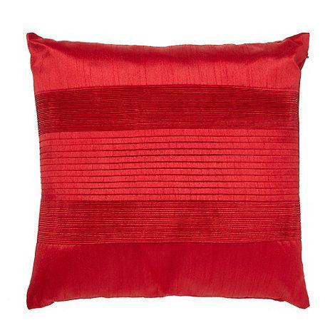 Debenhams Red pintuck textured satin cushion- at Debenhams.com