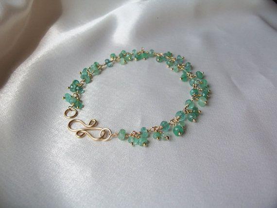 Emerald bracelet 7 1/8 inch 14k gold filled MLMR May by MLMR