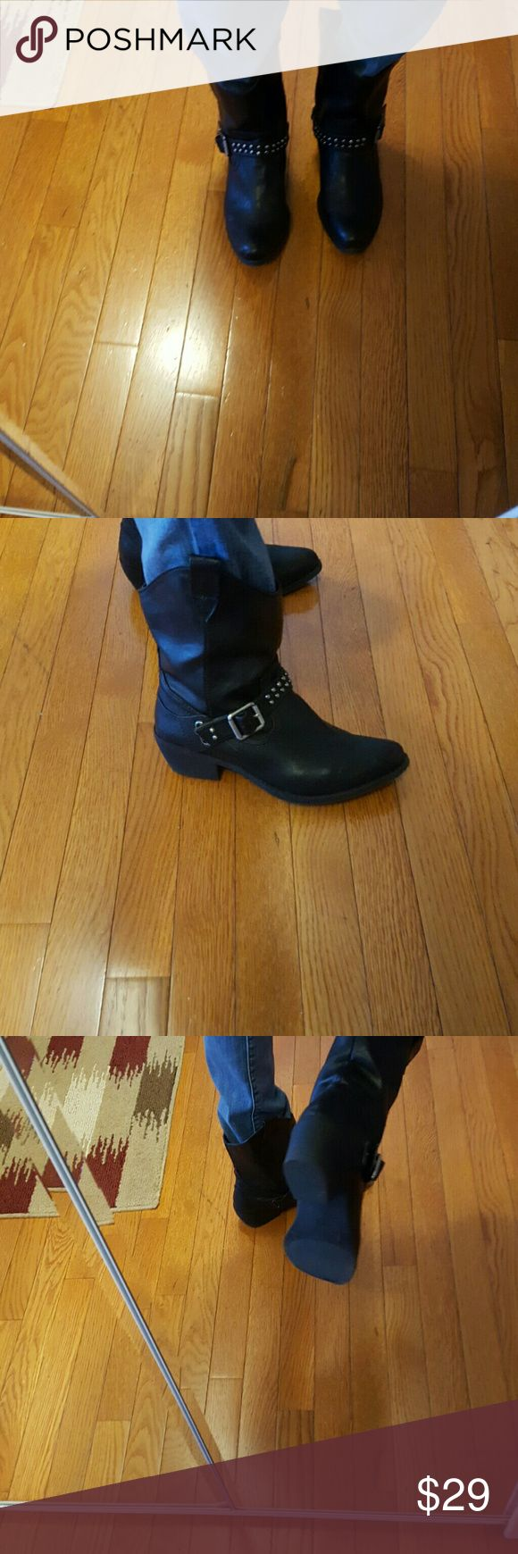 Black cow girl studded boots by Mossimo. Black man made cute boots size 8. 5 Mossimo Supply Co. Shoes Combat & Moto Boots
