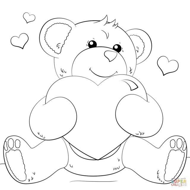 25 Inspired Picture Of Coloring Pages Of Hearts Teddy Bear
