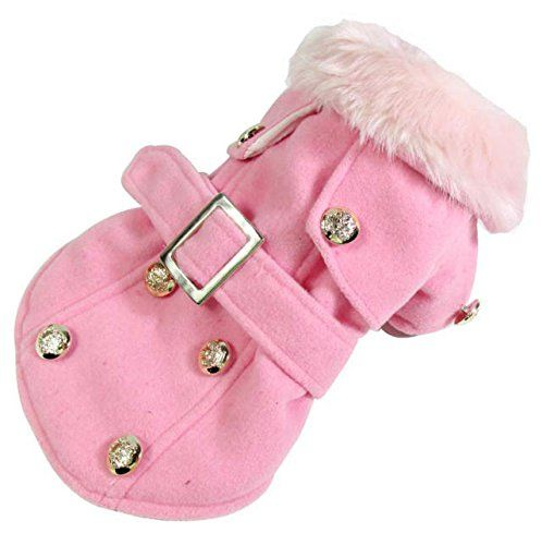 Dogloveit Fashion Elegant Jacket is an AMAZING WINTER COAT it is made of a soft pink wool like velour with a padded silky quilted lining and brass buttons. I ordered this in a size Large (Asia sizing use the size chart and then order 1 size up) for our 8 pound Maltese and it fits like it was custom made. For only $13.99 you can't beat it! Available in brown and grey too.