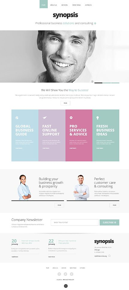 White website with a block colour grid to break it up and add some vibrancy