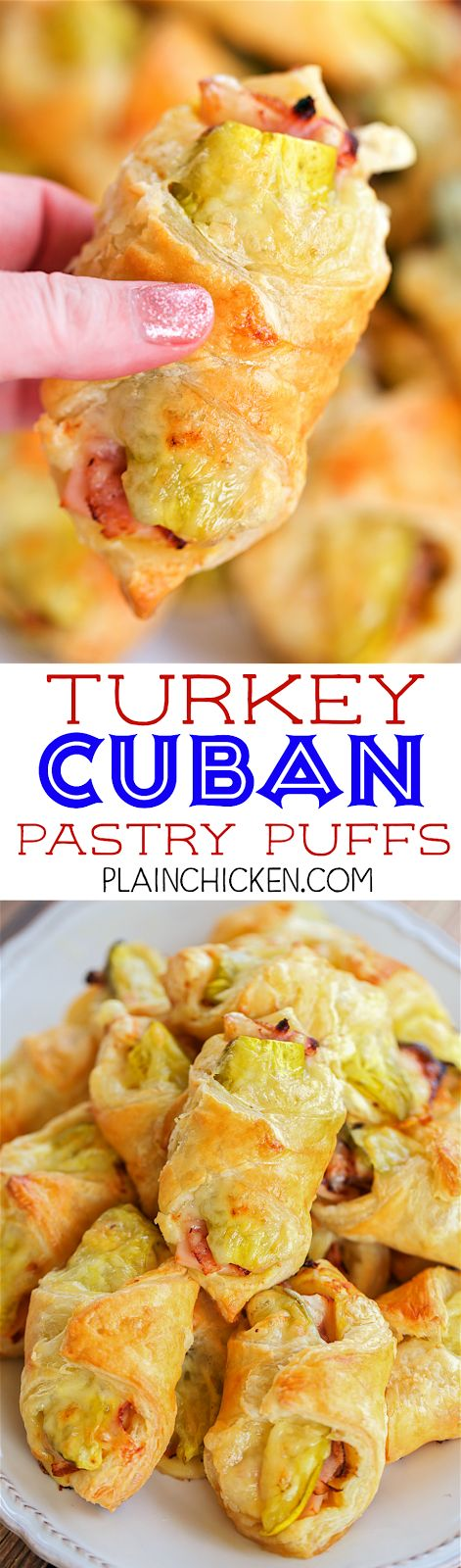 Pasteles Puffs de pavo cubanos - una gran manera de utilizar hasta las sobras de pavo!  ¡Tan delicioso!  hojaldre rellena con mostaza, pavo, jamón, queso suizo y pepinillos.  Puede hacer con anticipación y congelar sin hornear.  Grande para los partidos, chupar rueda, almuerzo o cena.  Estos sabor fantástico!