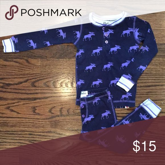 HATLEY two pieces moose button up pajamas. Only worn a couple times during the holidays. When I purchased these they were listed as boys but it's possible that these are girls. Either way they are adorable and well made. These slightly faded after a couple washes. Bundle my items for huge discounts! Hatley Pajamas Pajama Sets