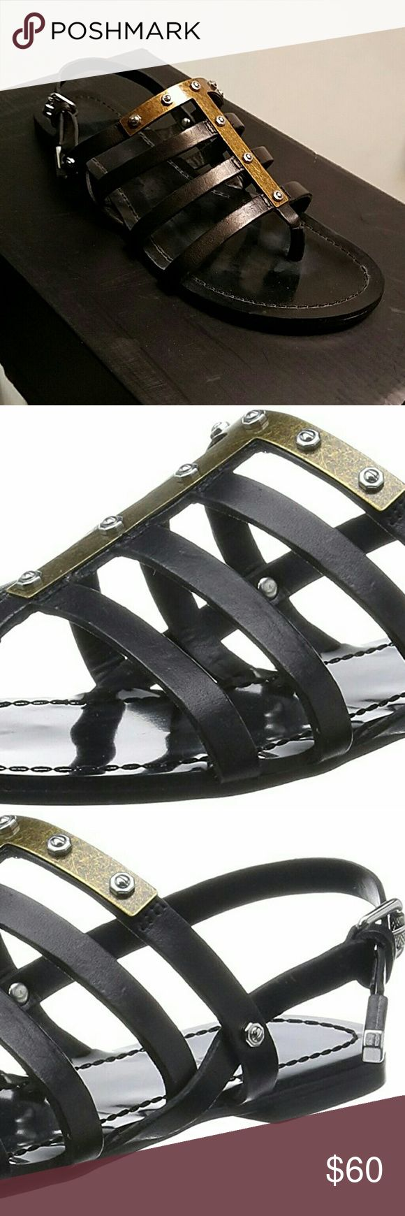 New! 60% off retail! Trendy Sandals! Leather straps // gold T-bar detail with studs! // Super edgy and chic! // other sites still selling for full price! // Diesel size 7.5 is 38 Europe// authenticity QR code on sole of shoe // New, never worn, only tried on Diesel Shoes Sandals
