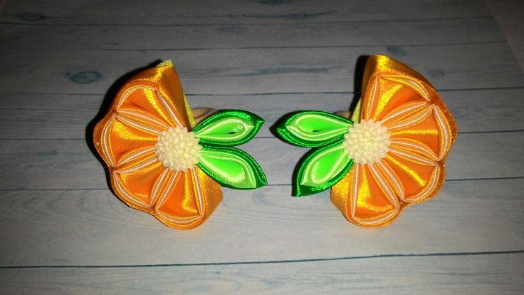 Апельсиновые дольки канзаши.