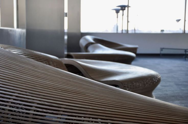 Sculptural Wooden Lobby Bench Like River - Spill