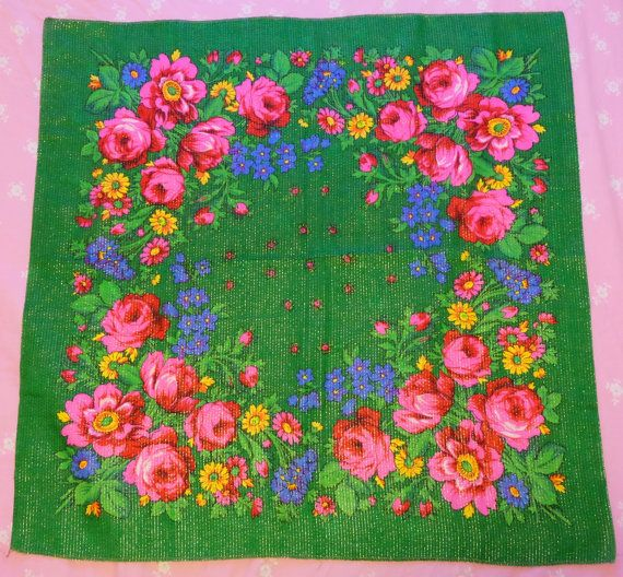 Green russian scarf with lurex Russian floral by MadeInTheUSSR