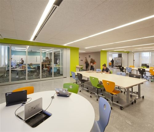 Most Classrooms Feature Large Glass Walls For