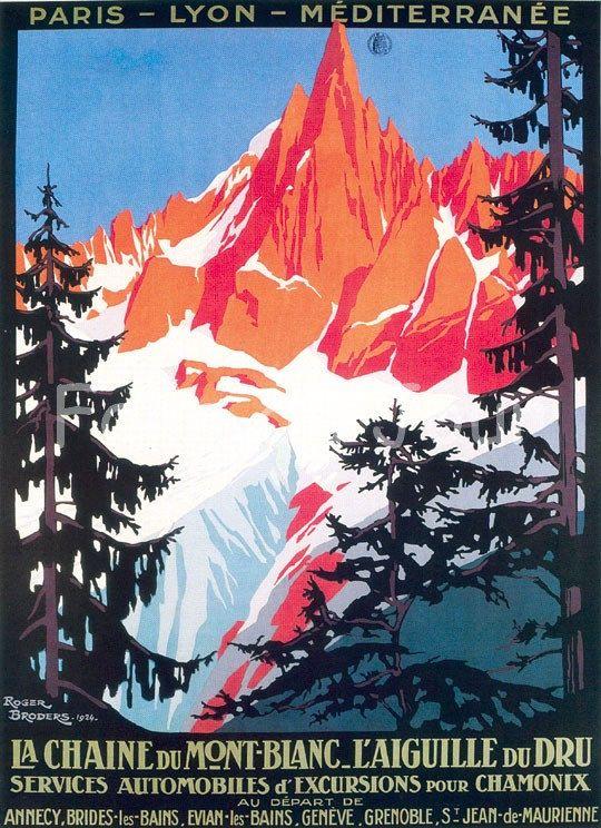 affiche mont blanc montagne dessin poster publicitaire hiver roger broders 12 00 via etsy. Black Bedroom Furniture Sets. Home Design Ideas