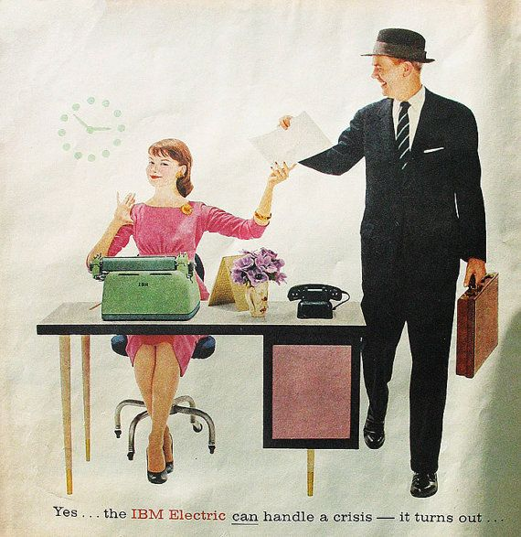 1957 ad IBM Electric Typewriter vintage office
