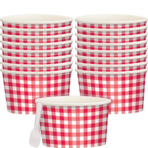 Picnic Party Red Gingham Ice Cream Cups 8ct - Party City