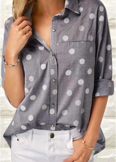 Polka Dot Print Grey Turndown Collar Shirt | Rosewe.com - USD $31.40