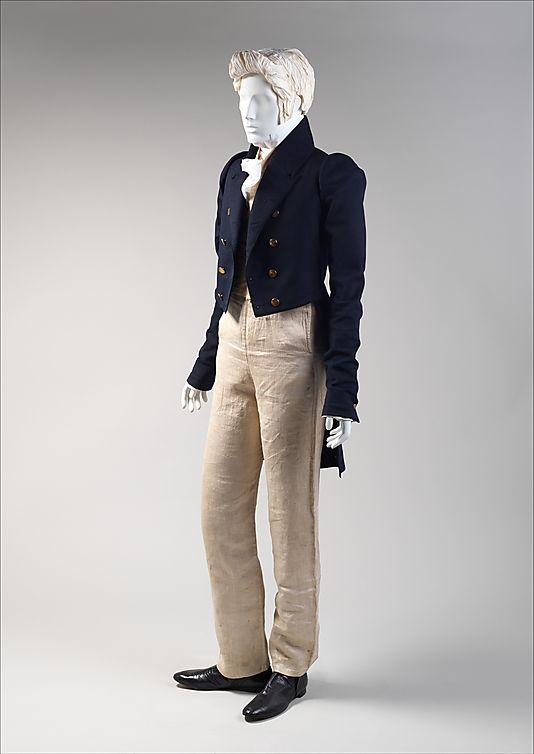 ca.1820 American ensemble; wool coat, linen trousers, silk waistcoat, etc.; from the Met Museum