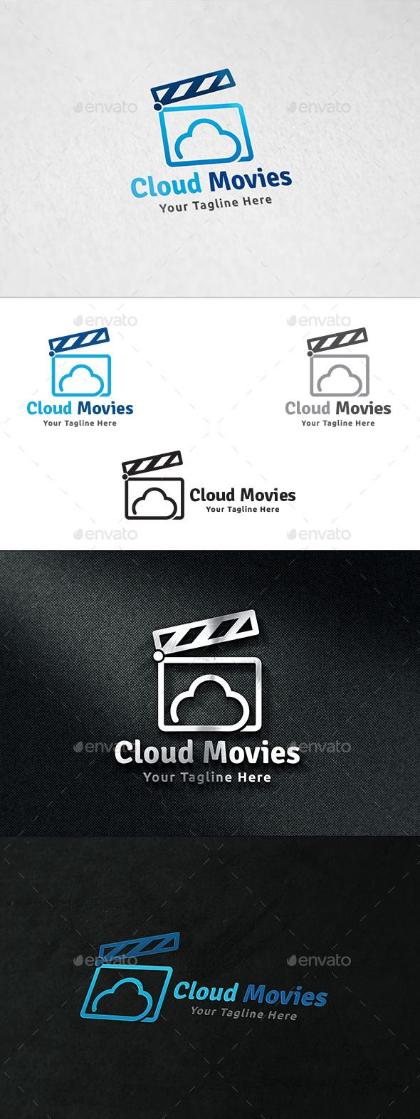 Cloud Movies  Logo Template — Vector EPS #film logo #reel • Available here → https://graphicriver.net/item/cloud-movies-logo-template/11310095?ref=pxcr