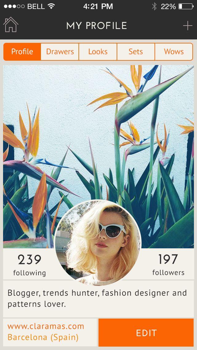 App Design, UX/UI, Profile Screen, Fashion Social Network