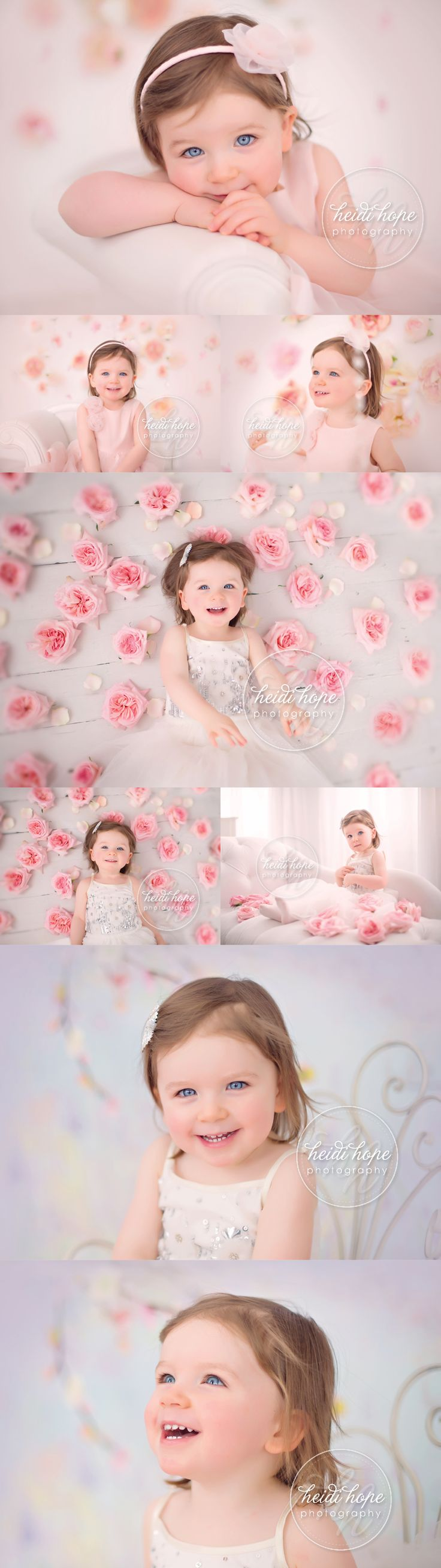 Photos of a two-year-old little girl surrounded by pink flowers