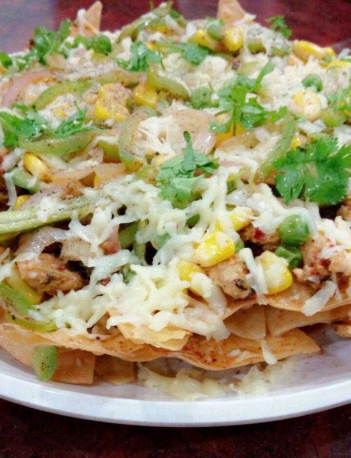 Chicken fajita nachos