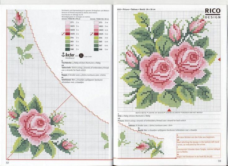 "Rose Corner Motifs in cross stitch with pattern chart, key, & project idea. Source: ""Gallery.ru / Фото #14 - 11 - gipcio"""