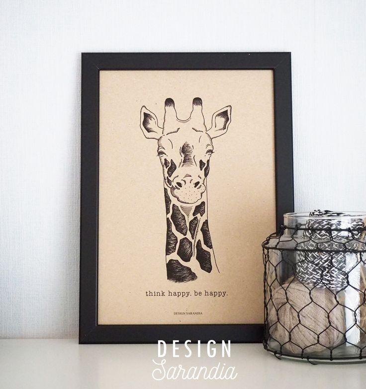 Think happy. Be happy. Happy Giraffe Oma suosikkini suunnittelemieni printtien joukosta. www.sarandia.fi My own print design by Design Sarandia