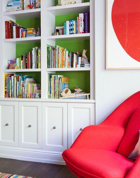 Modern - Books and toys arranged on white built-in shelves