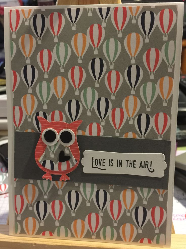 Love is In the air. St valentines little owl cutie. All stampinup product.  Kerryneill.stampinup.net