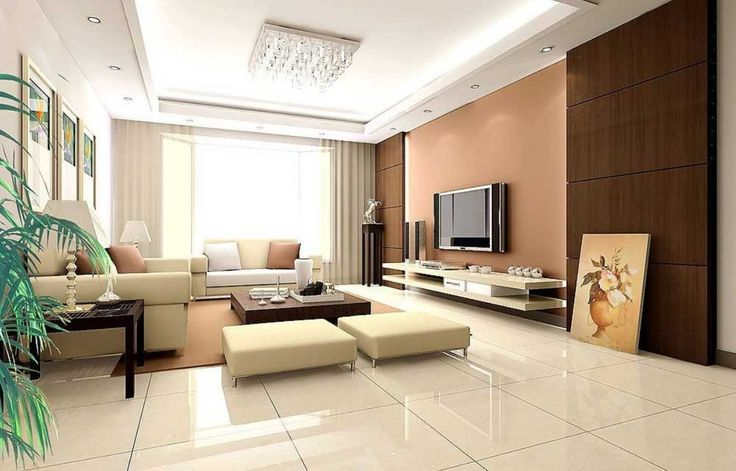 Wall Mount TV Living Room Design Ideas with white peach wall paint colors and wall picture frames