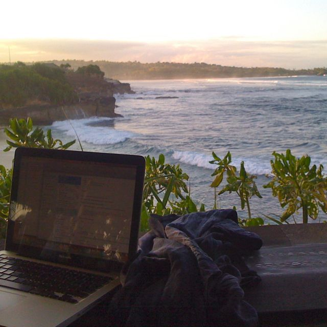 """Working From Anywhere"" is my way of life. I love setting up the office at Dream Beach Nusa Lembongan."