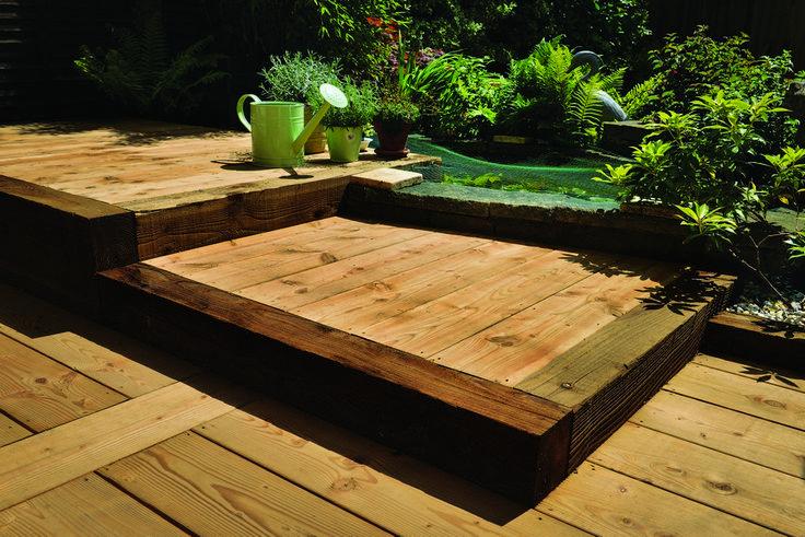 Timeless Timber Brushwood Sleepers used as decking edging