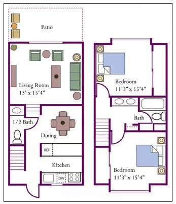 1000 ideas about apartment floor plans on pinterest Two story townhouse plans