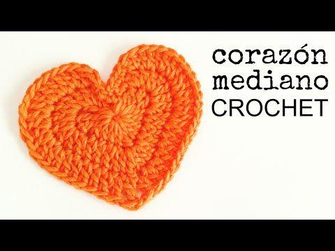 Cómo hacer un CORAZÓN Mediano a Crochet - Paso a Paso - YouTube